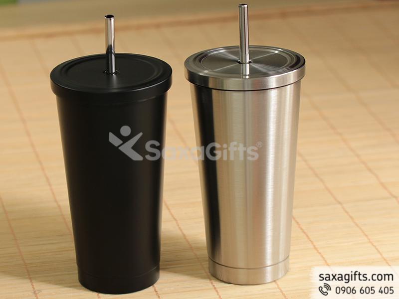 Ly giữ nhiệt inox SUS 304 cao cấp kèm ống hút kim loại