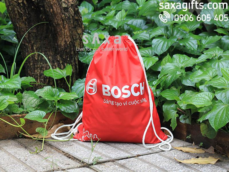Balo vải dù màu đỏ chống thấm nước dạng dây rút in logo Bosch