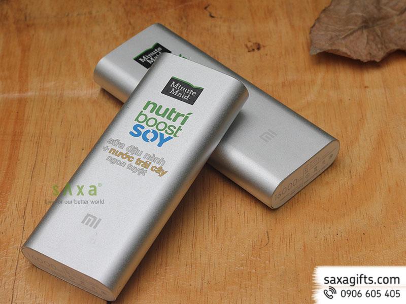 Pin sạc dự phòng vỏ kim loại màu bạc in logo Minute Maid 16000mAh