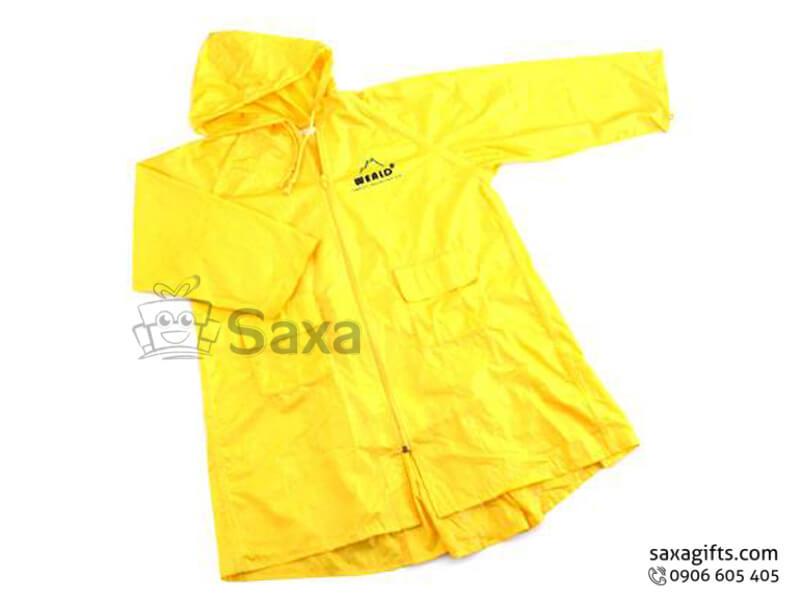 Áo mưa bit in logo bằng vải nhựa có túi áo