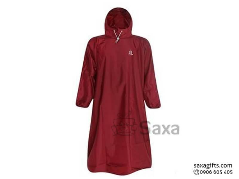 Áo mưa bít in logo chất liệu vải dù màu đỏ đô