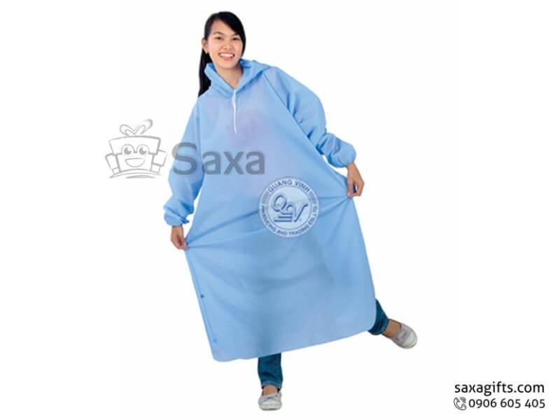 Áo mưa bít in logo bo thun tay màu xanh da trời