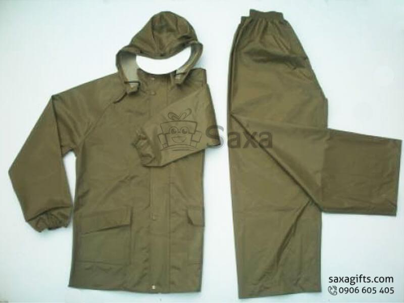 Áo mưa bộ in logo vải dù có túi màu xanh lính