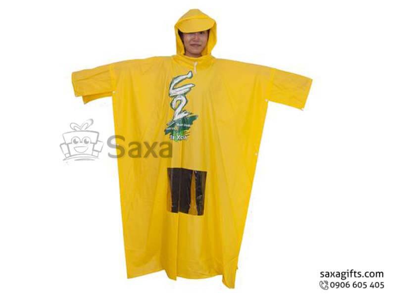Áo mưa cánh dơi in logo vải nhựa Rạng Đông vạt chữ U