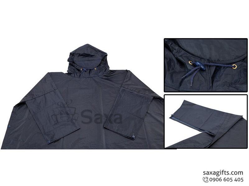 Áo mưa cách dơi in logo vải dù cao cấp màu xanh đen