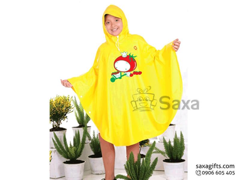 Áo mưa trẻ em in logo vàng viền xanh