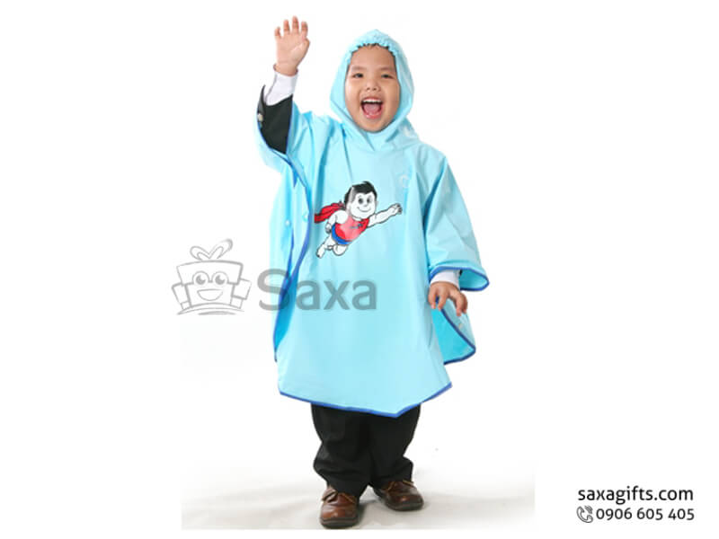 Áo mưa trẻ em in logo màu xanh viền xanh đậm