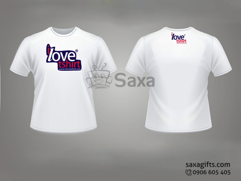 Áo thun in logo quảng cáo cổ tròn tay ngắn màu trắng