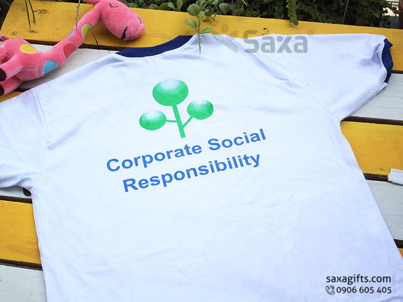 Áo thun quảng cáo in logo tổ chức Shimizu Corporation, cổ tròn