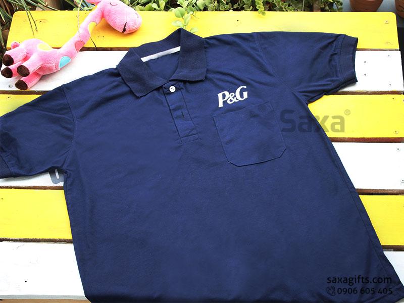 Áo thun quảng cáo in logo thương hiệu P&G, cổ bẻ