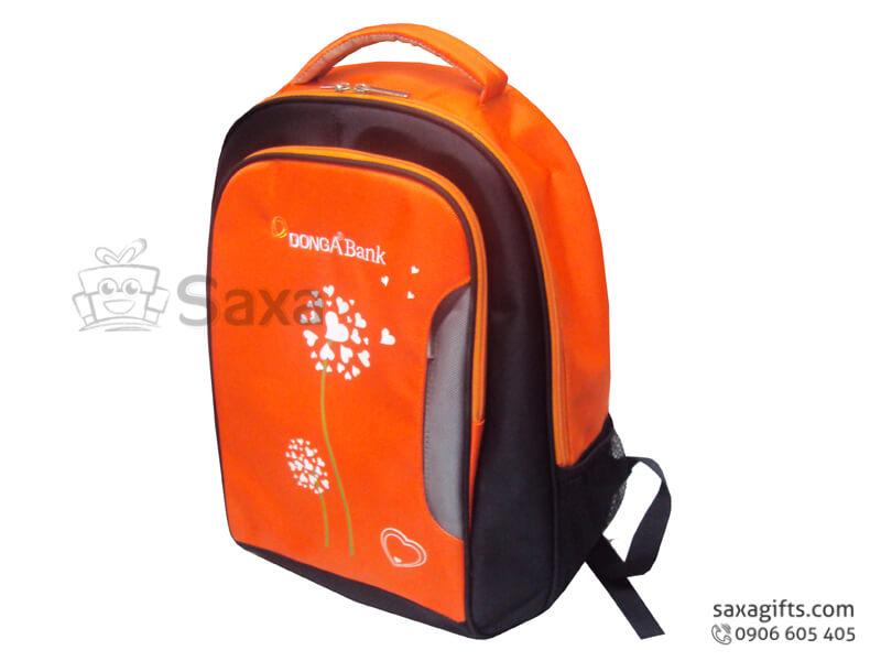 Balo laptop in logo Đông Á Bank cam phối đen