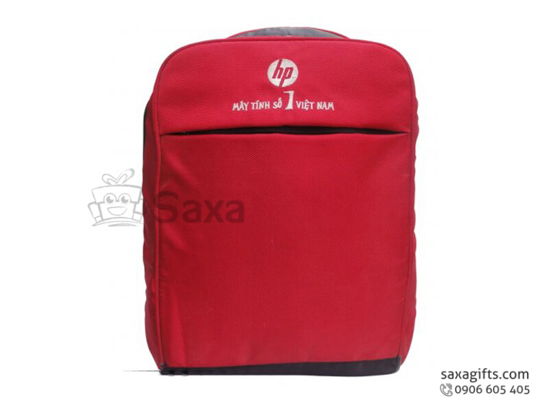 Balo laptop in logo nhỏ gọn màu đỏ của hãng máy tính HP