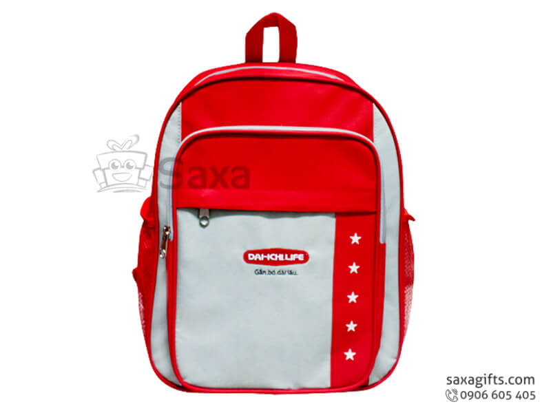 Balo trẻ em in logo vải dù đỏ phối xám của Daiichi Life