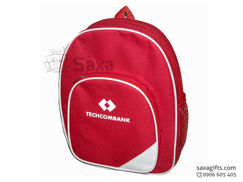 Balo laptop in logo vải dù viền trắng của Techcombank