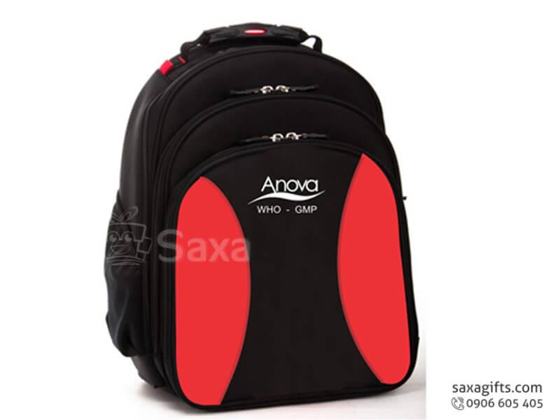 Balo laptop in logo vải dù 3 tầng màu đen phối đỏ của Anova