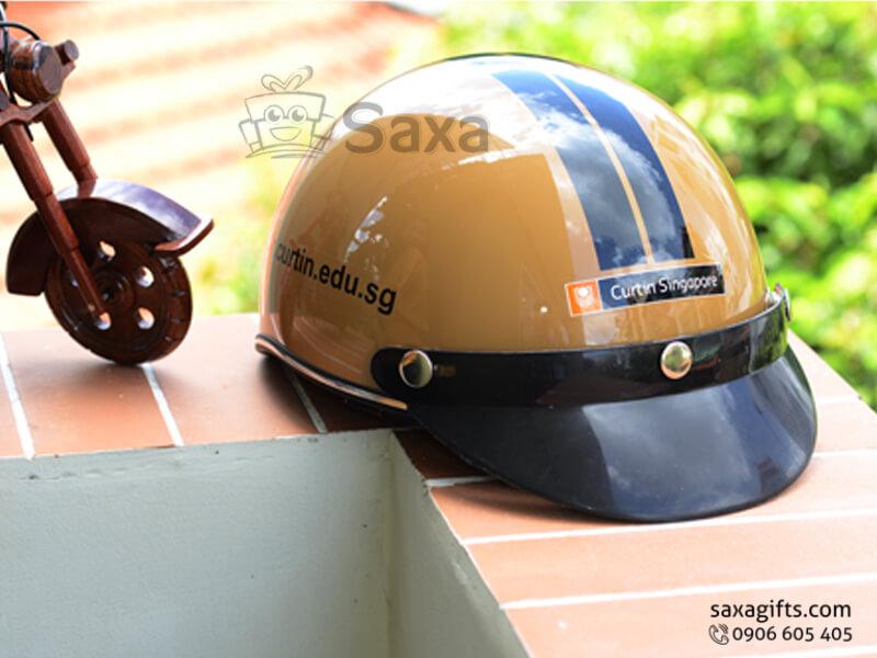 Mũ bảo hiểm in logo quảng cáo vành lưỡi trai rộng màu đen