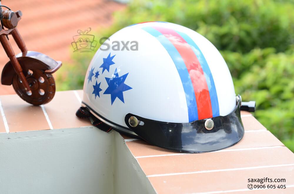 Mũ bảo hiểm in logo quảng cáo dạng nửa đầu lưỡi trai ngắn