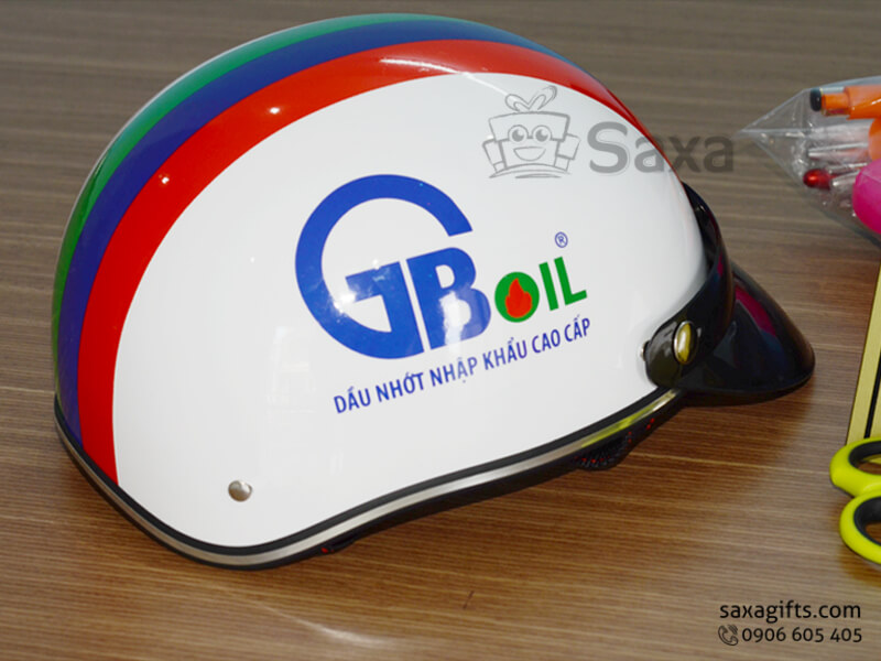 Mũ bảo hiểm in logo quảng cáo form nửa đầu của GB Oil