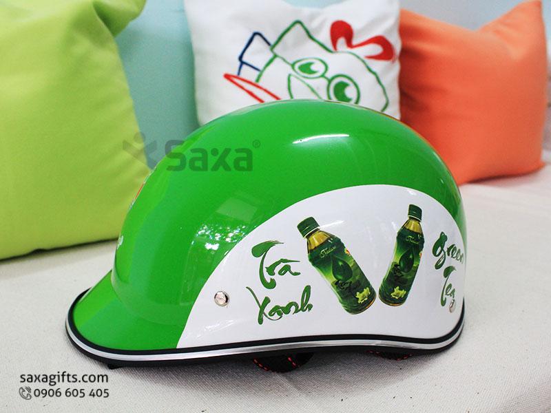 Mũ bảo hiểm quảng cáo – In logo Trà xanh Green Tea