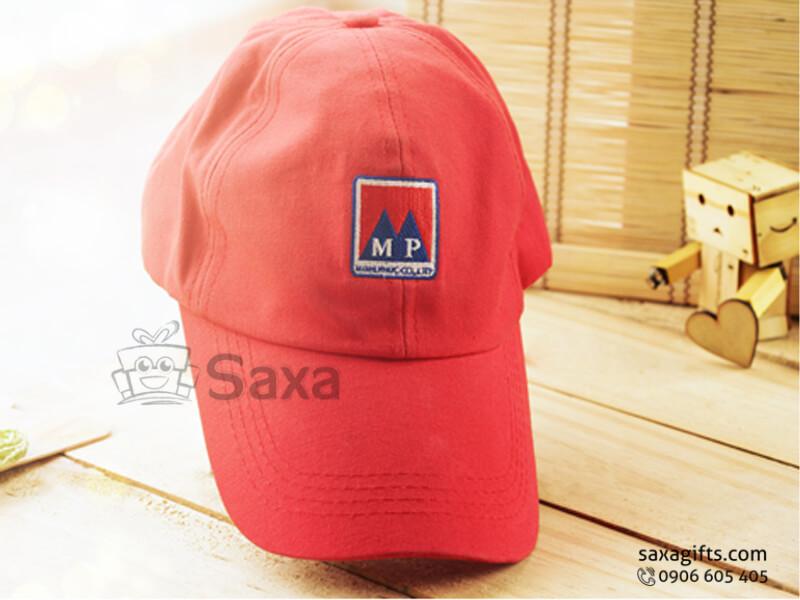 Nón lưỡi trai in logo vải kaki màu đỏ (Cap Clothes)