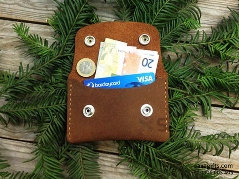 Ví da in logo unisex – Kiểu dáng nhỏ gọn, đựng namecard và tiền xu