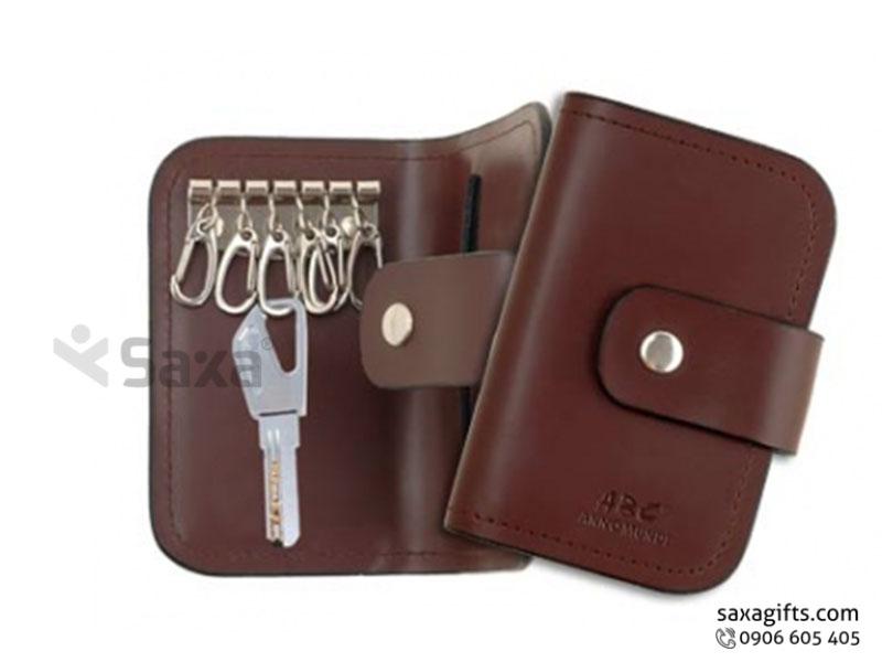 Ví da in logo đựng chìa khóa – Kiểu gấp đôi giắc cài bản nhỏ