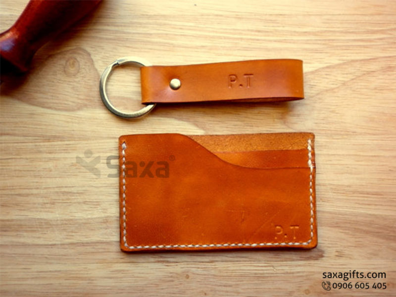 Bộ Ví da in logo + móc khóa – Kiểu ví đựng namecard 2 ngăn