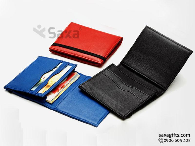 Ví da in logo – Kiểu ví đựng thẻ ATM card có thun cài chắc chắn