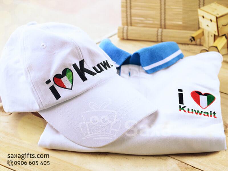 Bộ giftset văn phòng in logo gồm áo thun và nón lưỡi trai