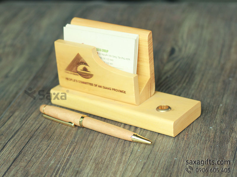 Bộ quà tặng để bàn bằng gỗ 2in1 + Bút ký gỗ nắp xoay nhỏ gọn