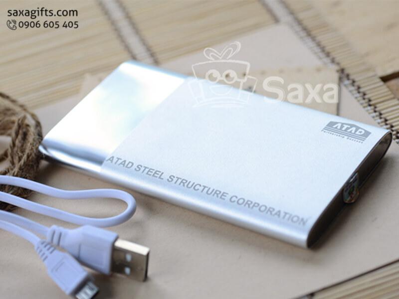 Pin dự phòng in logo vỏ kim loại xi mờ cách điệu 6000mAH