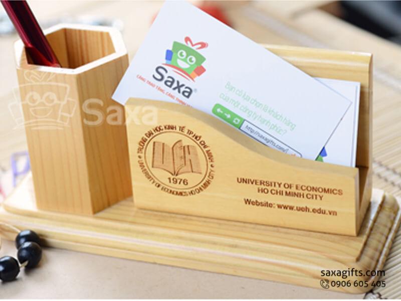 Quà để bàn gỗ in logo 2in1 đựng bút và namecard