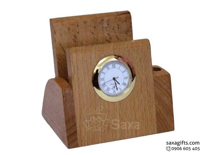 Quà để bàn gỗ in logo gồm khay đựng namecard và đồng hồ