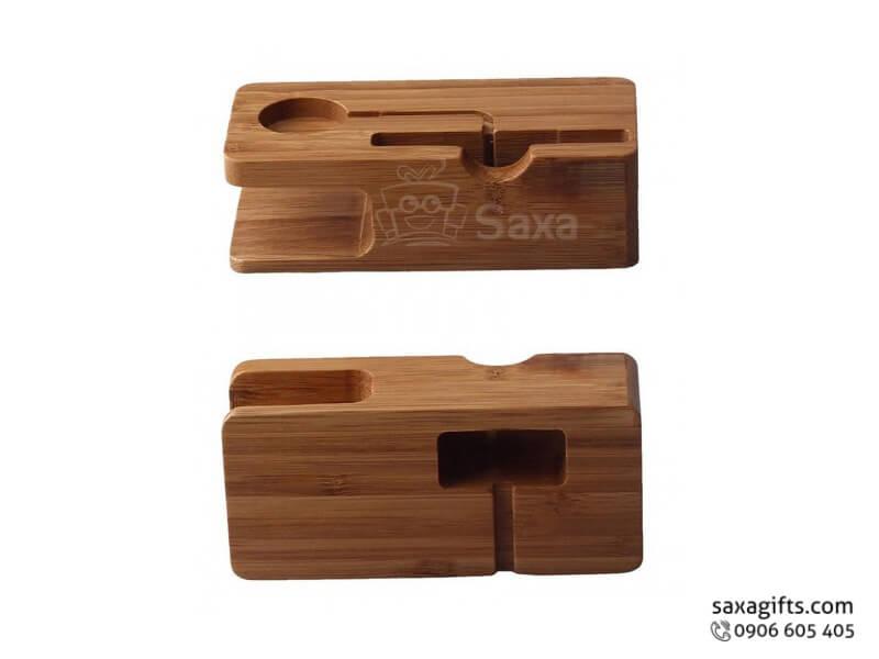 Quà để bàn gỗ in logo 3in1 kiểu dáng độc đáo