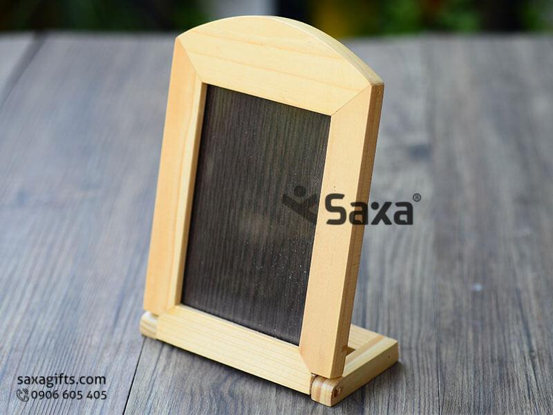 Khung ảnh gỗ để bàn bằng gỗ in logo đế xoay độc đáo