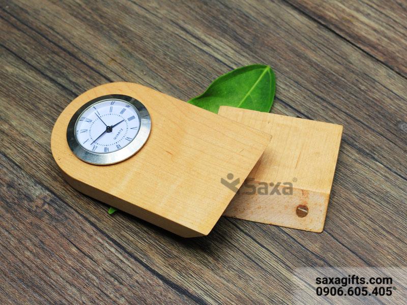Đồng hồ gỗ để bàn khắc logo, nhỏ gọn, tháo lắp được