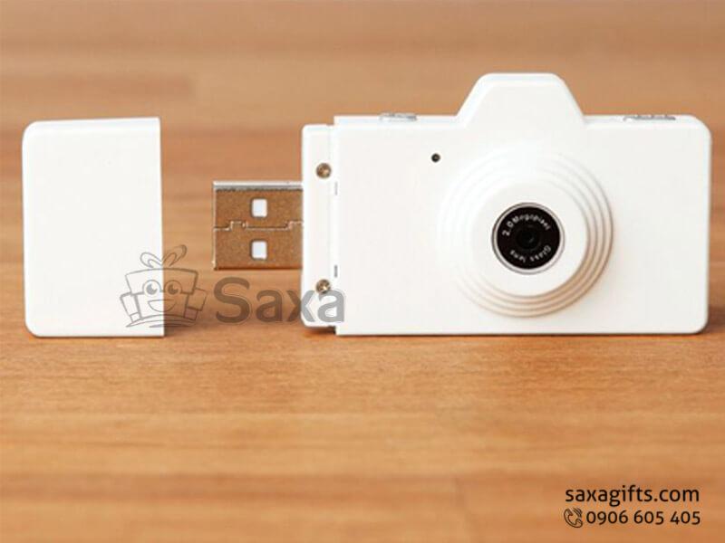 Usb nhựa in logo mô hình máy chụp ảnh màu trắng