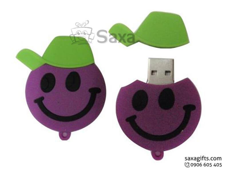 USB cao su làm theo mẫu 2D nắp rời hình mặt cười đội nón