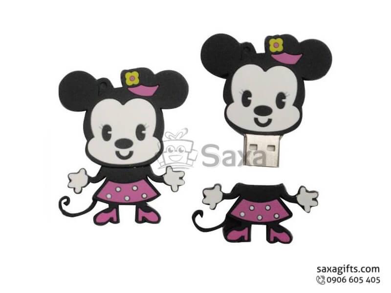 USB cao su làm theo mẫu 2D nắp rời hình chuột Mickey xinh xắn