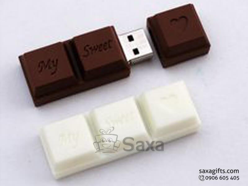 USB vỏ cao su làm theo mẫu 3D mô hình chocolate