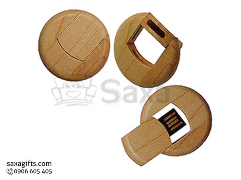 USB gỗ in logo xoay 360 độ thanh trượt hình tròn đồng xu