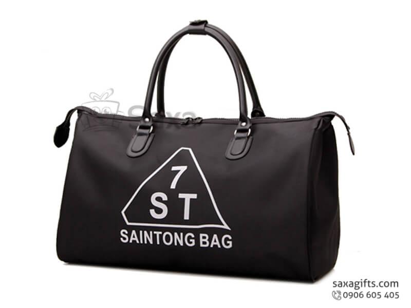 Túi du lịch in logo bằng da cao cấp Saintong Bag