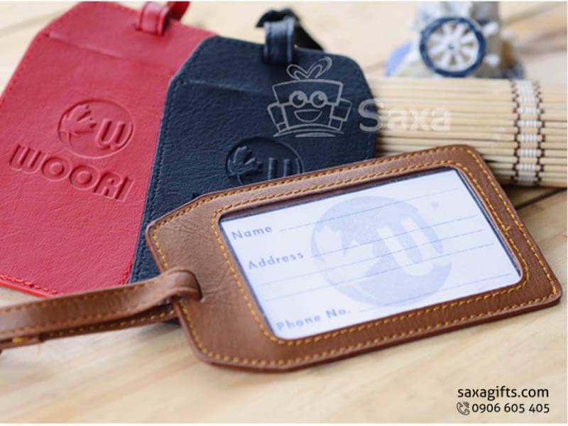 Thẻ đeo vali hành lý in logo bằng chất liệu simili giả da nhiều màu
