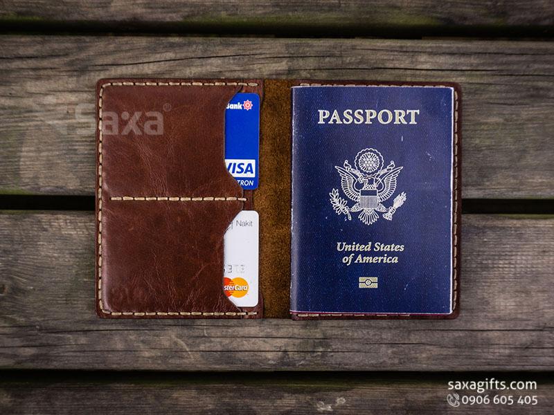 Ví passport da thật, kiểu gấp đôi may mép chỉ nổi