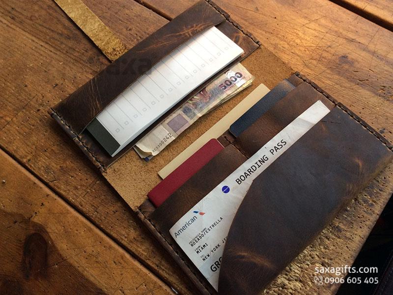 Ví passport da thật form dài, nhiều ngăn có dây cài