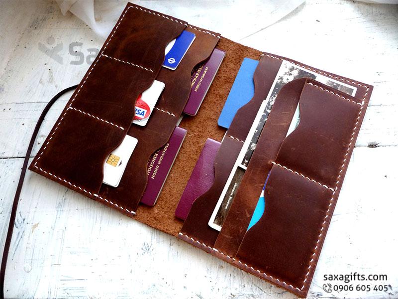 Ví passport da thật form dài kiểu gấp đôi, nhiều ngăn, có dây buộc