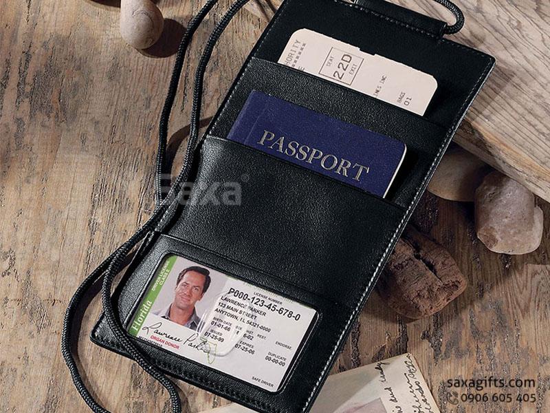 Ví passport da thật form dài kiểu ví thẳng, có dây đeo