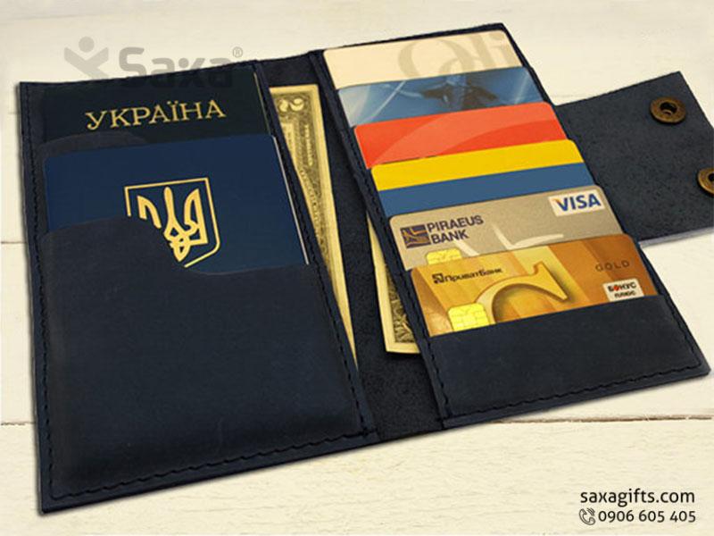 Ví passport da thật kiểu gấp đôi, giắc có nút bấm đôi