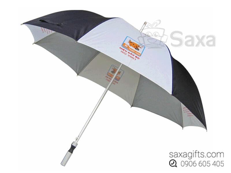 Dù cầm tay in logo cán thẳng múi dù đen phối xám (Hand Umbrella)