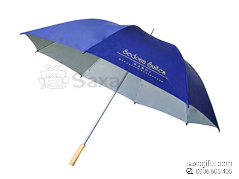Dù cầm tay in logo cán thẳng múi dù trắng phối họa tiết